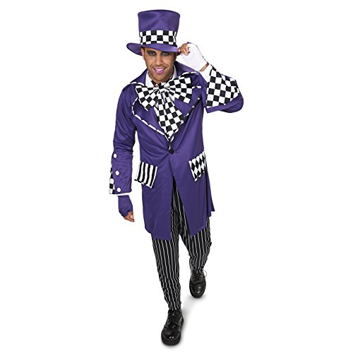 [Black and Purple Gothic Mad Hatter Adult Costume XL] (Mardi Gras Costumes Vest)