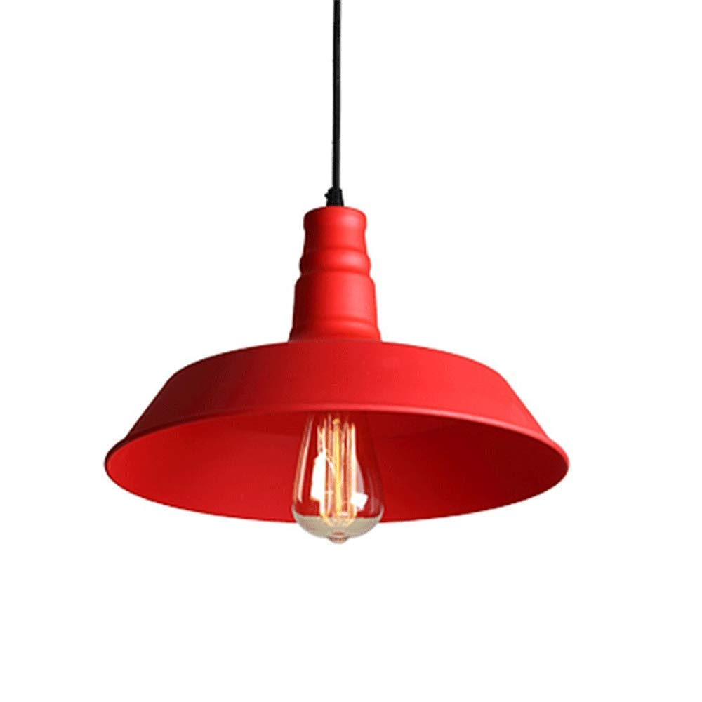 Rcircle Industrial Pendant Light, Barn Hanging Lamp Fixtures, Colored Lampshade Ceiling Lighting for Kitchen Island Kids Room Bar Clubs 10 Inch (Color : Red)