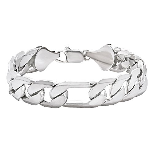 The Bling Factory 12mm Rhodium Plated Figaro Chain Bracelet, 8