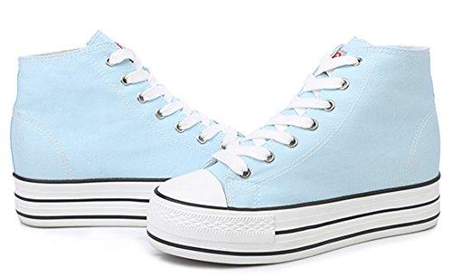 Idifu Kvinna Tillfälliga Höga Topp Plattform Tygskor Snöra Upp Sneakers Plimsolls Med Hälen Ljusblå