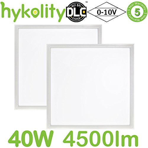 Recessed Led Edge - Hykolity 2x2 FT 40W 5000K Lay-in LED Troffer Panel Light, 0-10V Dimmable Recessed Edge-Lit Troffer Fixture, Drop Ceiling Flat Panel Light, Eligible for Rebate Programs, 4500lm DLC Qualified- 2 Pack