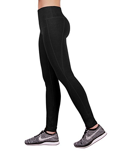 ODODOS Power Reflex Yoga Pants Tummy Control Workout Running Non See-through Fabric Yoga Pants With Hidden Pocket,Black,XX-Large