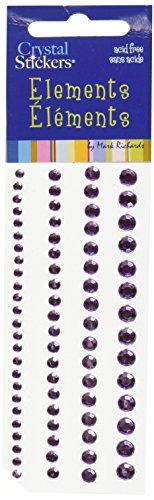 (Mark Richards Elements Crystal Stickers 1691 Self-Adhesive 74-Piece Variety Pack Round Rhinestones Crystal Sticker Strips, 3/4/5/6mm, Lavender)