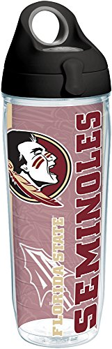 Spear Fsu (Tervis 1215475 Florida State Seminoles College Pride Tumbler with Wrap and Black with Gray Lid 24oz Water Bottle, Clear)