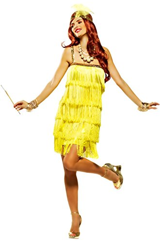 Mememall Fashion Fifth Avenue Flapper Adult Halloween Costume (Yellow) (Deluxe Flapper Girl Costume)
