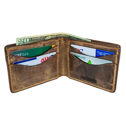 Mens Wallet Handmade - Hanks Bi-Fold Leather Wallet - Holds 8-13 Cards - USA Made, 100-Year Warranty - Vintage Brown