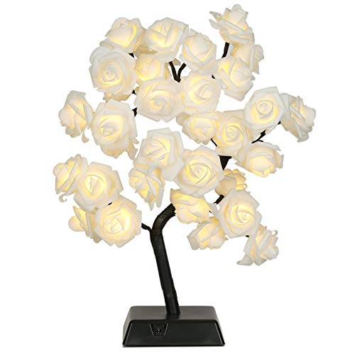 Bolylight Rose Flower Lamp Night Light Centerpiece Table Lamp 17.71 inch 32L Home Decor for Valentine's Day/Party/Festival/Wedding Warm White (Table Flower Lamp)