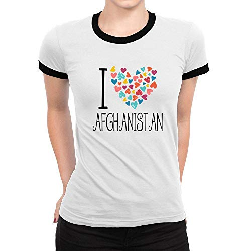 (Idakoos I Love Afghanistan Colorful Hearts Ringer Women T-Shirt L White)