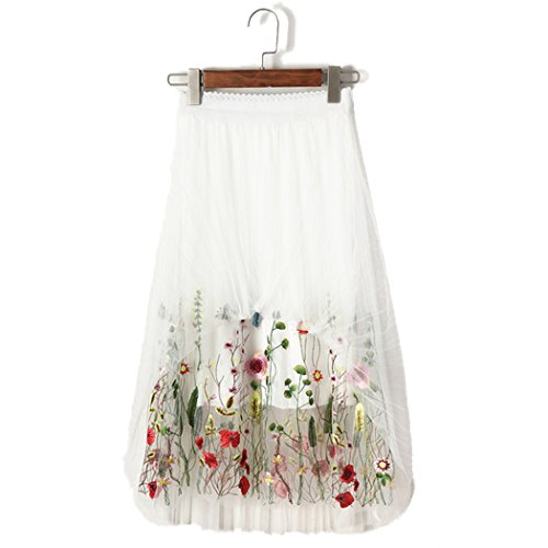 (bbpawing Women's Summer Vintage Floral Embroidered Mesh A-Line Midi Skirt Dress)