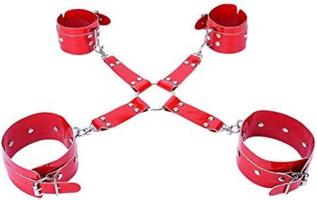 SUPVOX 1 Satz Erwachsene Handschellen Bett Manschetten Beinmanschetten Handgelenk Und Knöchel Fesseln Pu Bett Fesseln für Paar Liebhaber Spielzeug (Rot)