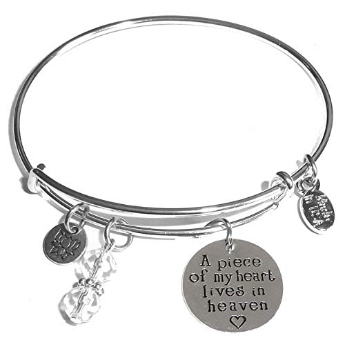Message Charm (84 Options) Expandable Wire Bangle Women's Bracelet, in The Popular Style, Comes in A Gift Box! (A Piece of My Heart Lives in Heaven) ()