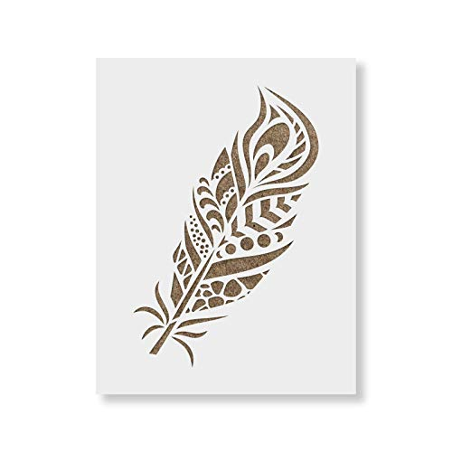 Peacock Feather Stencil Template for Walls and Crafts - Reusable Stencils for Painting in Small & Large Sizes ()