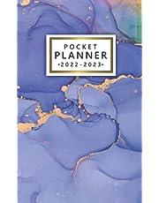 2022-2023 Pocket Planner: 2 Year Monthly Pocket Organizer, Calendar & Schedule Agenda With Phone Book, Notes & Password Log | Green Blue Gold Liquid Acrylic Pattern