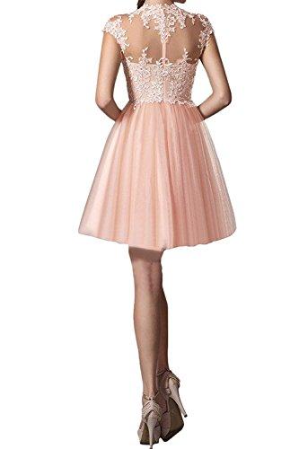 Tanzenkleider Braut Kurz Mini Cocktailkleider Spitze Grün Rosa Promkleider Kurzarm Abendkleider Marie La qXzxwHq