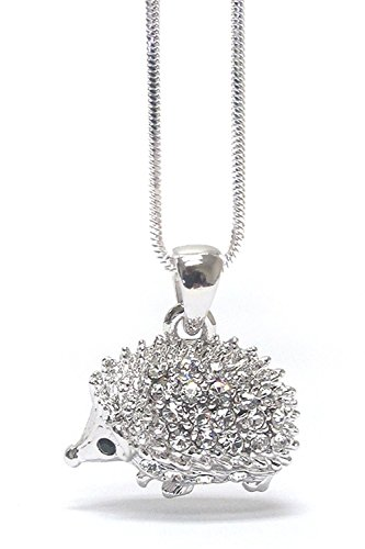 Lola Bella Gifts Crystal Hedgehog Fashion Necklace (Silver-Tone) -
