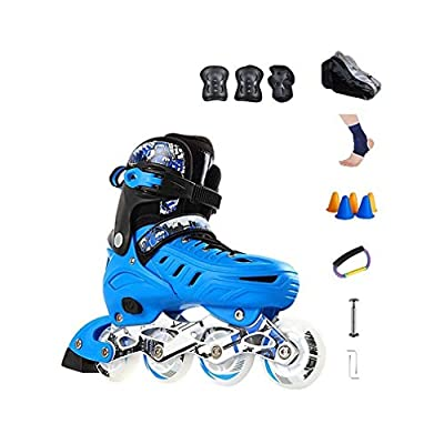 Sljj Outdoor Adjustable Illuminating Youth Blue Inline Skates Combo, Fashion Motion Fitness Speed Roller Skates for Beginner (Color : B, Size : L (EU 39-EU 42)): Home & Kitchen
