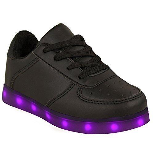Niñas Chicas Zapatillas Parpadeante LED luminosas Luces Cargador USB encaje talla NUEVO GB Piel Sintética Negro