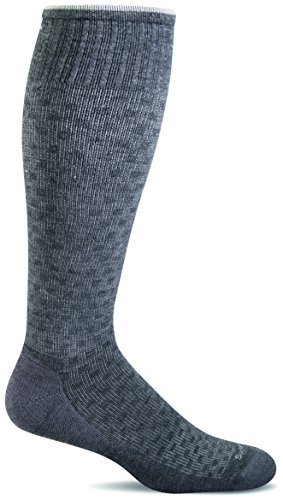 Sockwell Men's Shadow Box Graduated Compression Socks, Charcoal, (Mens Shadow Box)