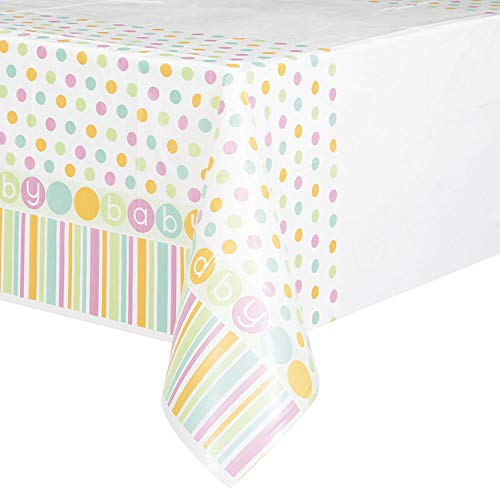 Pastel Baby Shower Plastic Tablecloth, 84