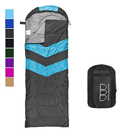 Sleeping Bag – Sleeping Bag for Indoor & Outdoor Use - Great for Kids, Boys, Girls, Teens & Adults. Ultralight and Compact Bags are Perfect for Hiking, Backpacking & Camping (Gray / Sky Blue)