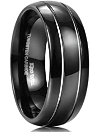 king will black tungsten ring 8mm wide polished finish unisex wedding band two grooved tone center - Black Wedding Rings For Him
