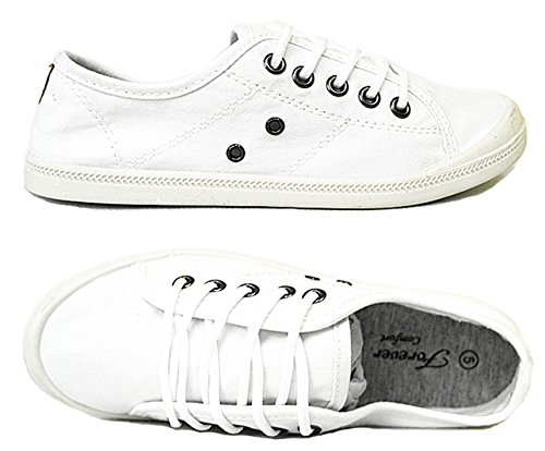 Forever Link Comfort Women's Lace up Casual Street Sneakers Flat Shoes (10, White-04) by Forever Link SF