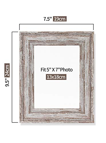 Afuly Rustic Picture Frame 5x7, Farmhouse White Photo Frame, Distressed Wood Decor, Gift for Grandma, Set of 2