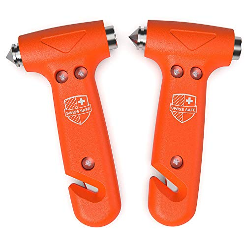 (Swiss Safe 5-in-1 Car Safety Hammer (2-Pack), Emergency Escape Tool with Car Window Breaker and Seatbelt Cutter for First Responders and Roadside Safety Kits)