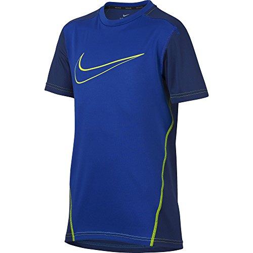 NIKE Boys Dry Short Sleeve Top, Hyper Royal/Deep Royal Blue/Volt/Volt, Medium