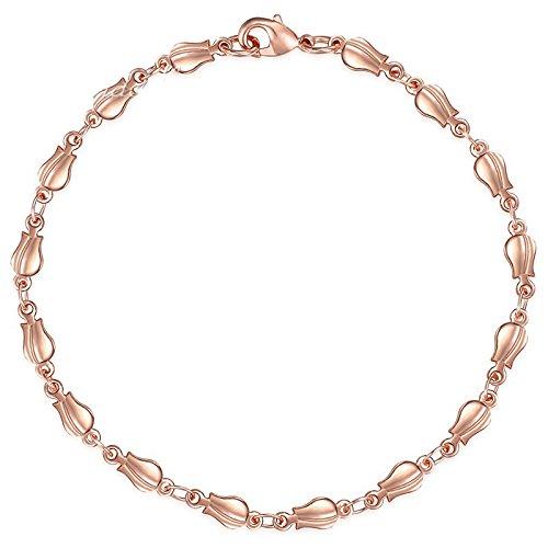 - Bracelets For Women Men 585 Rose Gold Curb Cuban Snail Foxtail Link Chain Bracelet Jewelry 18Cm 20Cm 23Cm GBB1 4mm GB394 23cm