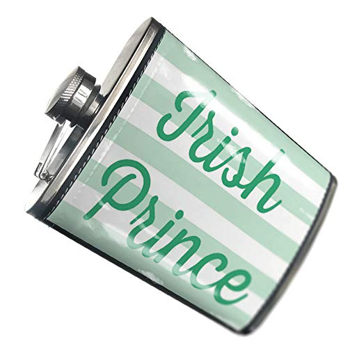 h Prince St. Patrick's Day Simple Light Green Stripes Hip Flask PU Leather Stainless Steel Wrapped ()