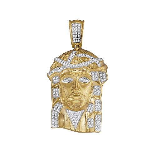 Roy Rose Jewelry 10K Yellow Gold Mens Round Diamond Jesus Christ Head Charm Pendant 3/8-Carat ()