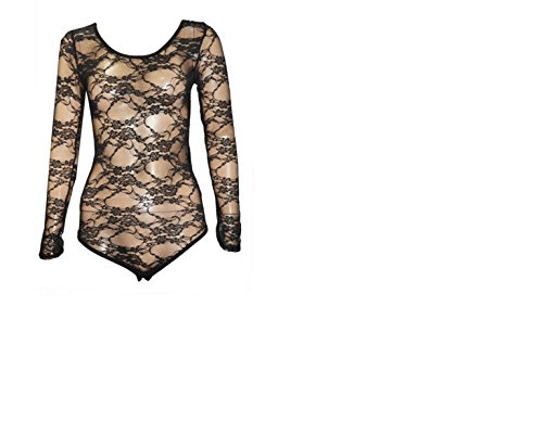 LADIES WOMEN FLORAL LACE BODYSUITS LONG SLEEVE LEOTARD BODY LACE TOP SIZE 8-26 (XL/XXL 20-22, BLACK)