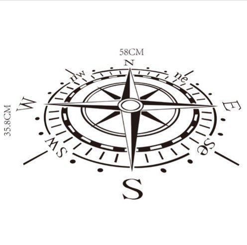 Creative Home Decor Compass Wall Sticker Waterproof - Phantom Ray Ban