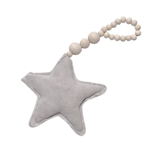 Price comparison product image Clearance Sale! Iuhan Nordic Style Cute Wooden Beads Star Heart Shape Pendant Kids Room Decoration Wall Hanging Ornament For Photography (Star,  Gray)