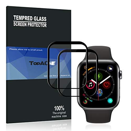 ?Upgraded Version??Full Glue Coverage? Apple Watch Series 4 44mm Screen Protector, TopACE 9H Hardness Full Coverage Bubble Free Tempered Glass 0.3mm Film for Apple Watch Series 4 44mm (Black)