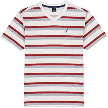 Nautica Boys' Short Sleeve Mini Stripe V-Neck Tee