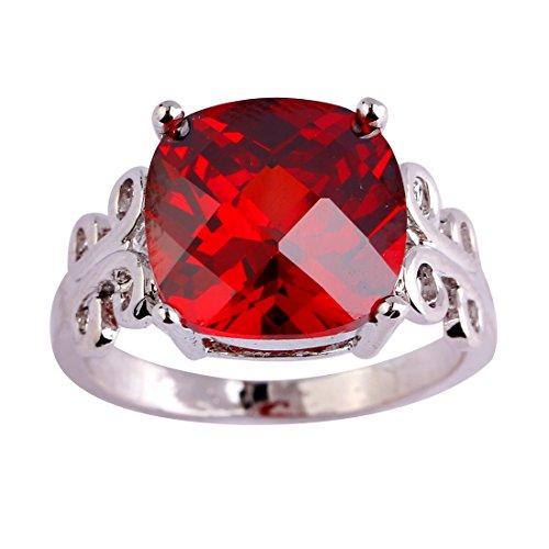 Veunora 12x12mm Cushion Cut Garnet Solitaire Ring Jewelry for Women Size 8