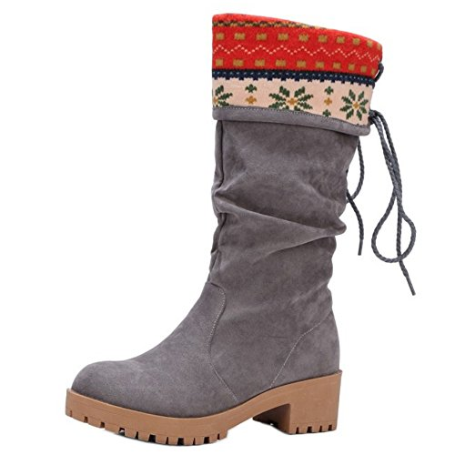 Women Fashion Autumn Chunky On Half TAOFFEN Shoes Heel Gray Boots Winter Pull wZpf5q