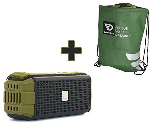 15W Rugged Portable Wireless Speaker with aptX 4.0 Bluetooth, USB Power Bank, IPX5 Splash Proof by Dreamwave Audio - EXPLORER + BONUS Bike Mount and DW BAG