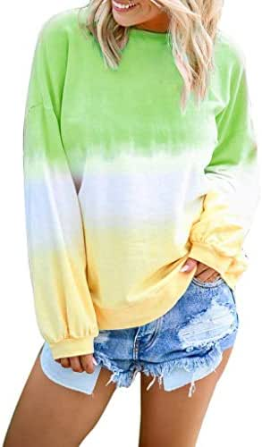 NOMUSING Women's Casual O-Neck Gradient Contrast Color Long Sleeve Top Pullover Sweatshirt Cute Fashion Shirt Outerwear