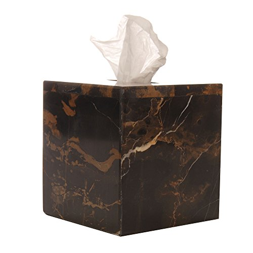 (Polished Marble Tissue Box Cover, Black & Brown Shower and Bathroom Accessory)