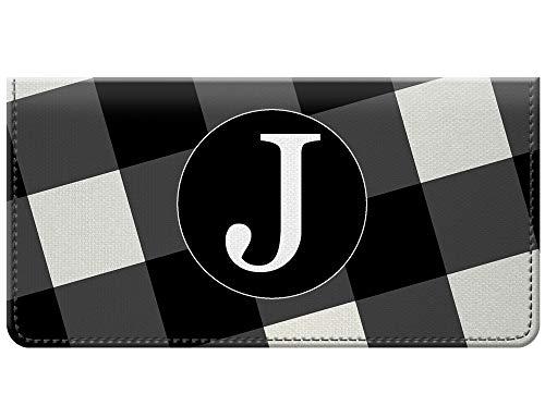 Trendy Monogram Buffalo Plaid Black White Design Checkbook Cover
