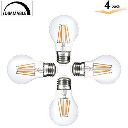 A19 LED Vintage 8Watt Light Bulb, E26 Edison Style Filament bulbs, A60 Dimmable light, 75 watt halogen bulb replacement, Amber Warm White 2200K Clear Pendent Light Bulb UL Listed (Pack of 4) - 75w Halogen Light Bar