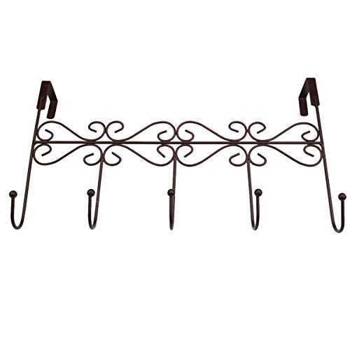 Xingyou Over Door Clothes Hanger with 5 Hooks Decorative Metal Hanger for Coats, Hats, Towels XY-H-002 (Max Bearing Weight: 10kg/22 lbs) Coffee (2) by Xingyou (Image #5)