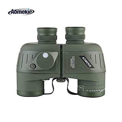 Aomekie Top Grade Floating Marine Military Binoculars with Internal Rangefinder and Compass Waterproof Army Green for Navigation, Boating, Fishing, Water Sports, Hunting