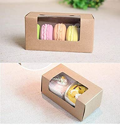 Compy Cake Cookies Packaging Box For Wedding Cake Cookies Box Paper Boxes For Cakes Macaron Kraft Box With Window Paper Deep Sapphire 137x70x60mm Amazon Co Uk Kitchen Home