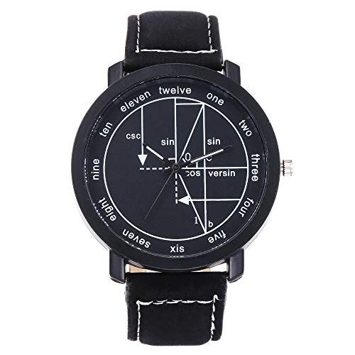 Watches for Woman English Number Geometric Leather Strap Analogue Quartz Classic Wrist Watch (H)