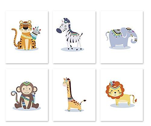 (8x10 A06 Tribal Nursery wall art. Safari baby animals.Kids room wall art.Jungle animals.For Children)
