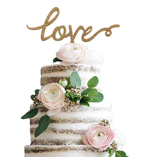 (LIMITLESS Love Cake Topper - Gold Glitter Acrylic Plastic Cake Topper - Weddings, Anniversaries, Engagement Parties and More!)